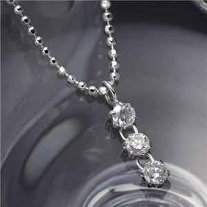 3ストーンダイヤモンドペンダント/ネックレス - 拡大画像