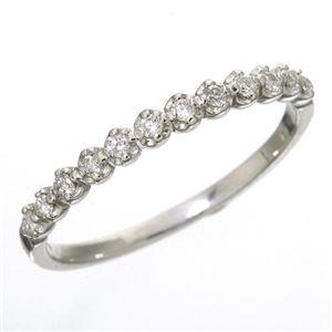 K18 ダイヤハーフエタニティリング ホワイトゴールド 17号 指輪 - 拡大画像