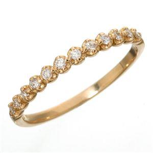 K18 ダイヤハーフエタニティリング ピンクゴールド 11号 指輪 - 拡大画像
