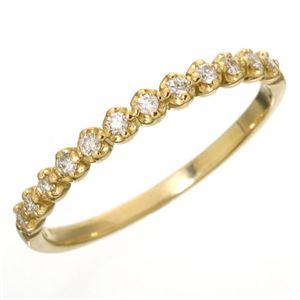 K18 ダイヤハーフエタニティリング イエローゴールド 9号 指輪 - 拡大画像