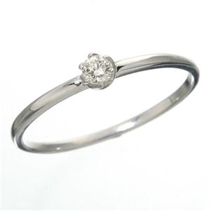 K18 ダイヤリング 指輪 シューリング ホワイトゴールド 11号 - 拡大画像