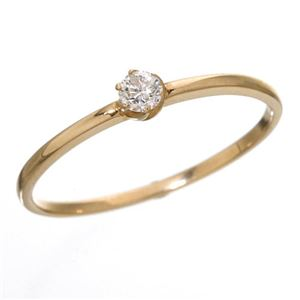 K18 ダイヤリング 指輪 シューリング ピンクゴールド 17号 - 拡大画像
