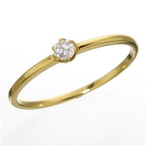 K18 ダイヤリング 指輪 シューリング イエローゴールド 17号 - 拡大画像