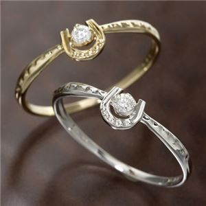 K10馬蹄ダイヤリング 指輪 ホワイトゴールド 7号 - 拡大画像