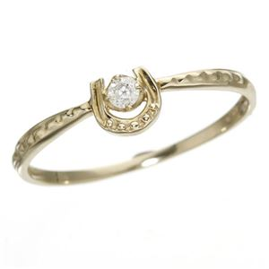 K10馬蹄ダイヤリング 指輪 イエローゴールド 15号 - 拡大画像