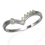 K14ダイヤリング 指輪 Vデザインリング 17号