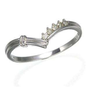 K14ダイヤリング 指輪 Vデザインリング 21号 - 拡大画像