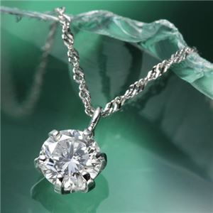 K18WG0.3ctダイヤモンドペンダント/ネックレス - 拡大画像