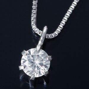 純プラチナ 0.1ctダイヤモンドペンダント/ネックレス ベネチアンチェーン - 拡大画像