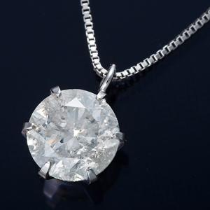 純プラチナ 1ctダイヤモンドペンダント/ネックレス ベネチアンチェーン(鑑別書付き) - 拡大画像