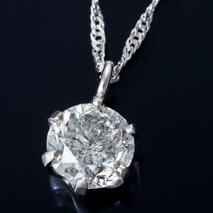 純プラチナ 0.3ctダイヤモンドペンダント/ネックレス スクリューチェーン(鑑定書付き) - 拡大画像