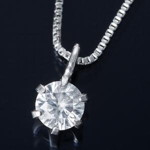純プラチナ 0.1ctダイヤモンドペンダント/ネックレス ベネチアンチェーン(鑑定書付き) - 拡大画像