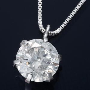 純プラチナ 0.5ctダイヤモンドペンダント/ネックレス ベネチアンチェーン(鑑定書付き) - 拡大画像