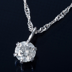 K18WG 0.1ctダイヤモンドペンダント/ネックレス スクリューチェーン