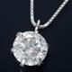 K18WG 0.5ctダイヤモンドペンダント/ネックレス ベネチアンチェーン(鑑別書付き) - 縮小画像1