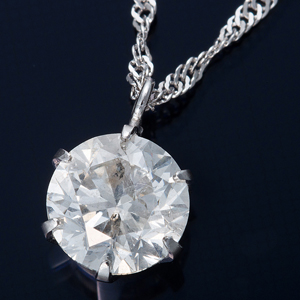 K18WG 1ctダイヤモンドペンダント/ネックレス スクリューチェーン(鑑定書付き) - 拡大画像
