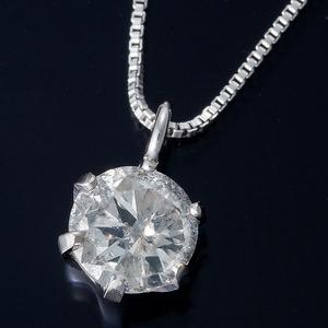 K18WG 0.3ctダイヤモンドペンダント/ネックレス ベネチアンチェーン(鑑定書付き) - 拡大画像
