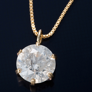 K18 0.7ctダイヤモンドペンダント/ネックレス ベネチアンチェーン - 拡大画像