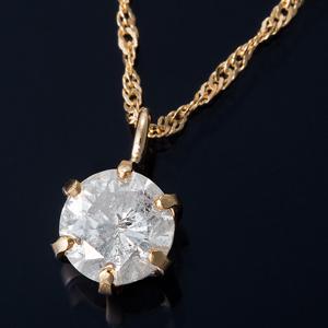 K18 0.3ctダイヤモンドペンダント/ネックレス スクリューチェーン(鑑別書付き) - 拡大画像