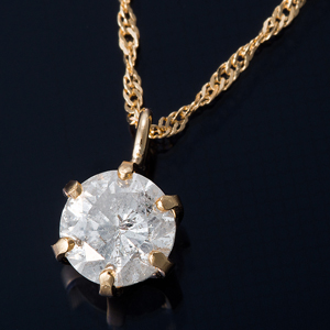 K18 0.3ctダイヤモンドペンダント/ネックレス スクリューチェーン(鑑定書付き) - 拡大画像