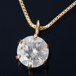 K18 0.3ctダイヤモンドペンダント/ネックレス ベネチアンチェーン(鑑定書付き) - 拡大画像