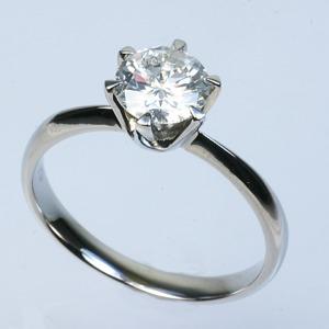 プラチナPt900 1.0ct一粒ダイヤリング 指輪 (鑑別書付き)  11号 - 拡大画像