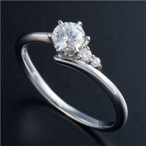 Dカラー・VVS2・EX Pt0.3ct ダイヤリング サイドダイヤモンド (鑑定書付き) 13号 - 拡大画像