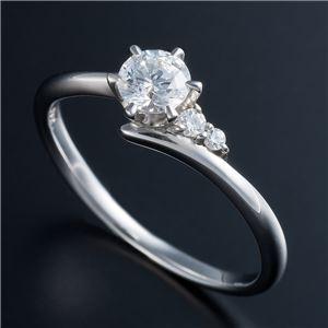 Dカラー・VVS2・EX Pt0.3ct ダイヤリング サイドダイヤモンド (鑑定書付き) 18号 - 拡大画像