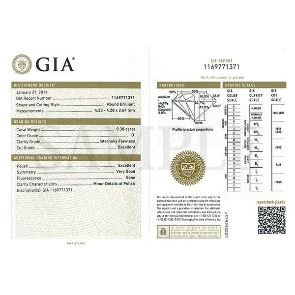 Dカラー IFクラス EXカット0.3ctダイヤモンドペンダント/ネックレス(GIA鑑定書付き)
