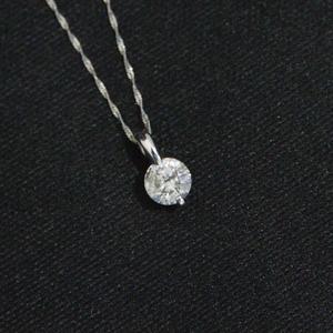 プラチナ2点留 1ctダイヤモンドペンダント/ネックレス スクリューチェーン(鑑別書付き) - 拡大画像