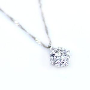 純プラチナ 0.7ct 4つ爪ダイヤモンドペンダント/ネックレス (鑑別書付き) - 拡大画像