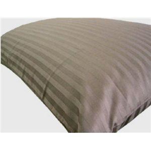 大型ピロケース(枕カバー)サテンストライプ ブラウン 綿100% - 拡大画像