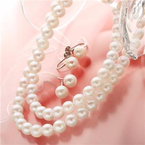 あこや真珠 6.5-7mm珠 42cm&47cm パールネックレス&パールイヤリングセット FPN-TW00001 01  - 拡大画像