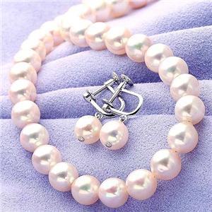 あこや真珠 8-8.5mm大珠パールネックレス+パールイヤリングセット FPN-KOU00002 【本真珠】 - 拡大画像