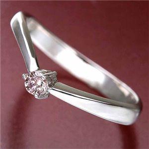 【訳あり・在庫処分】天然ピンクダイヤリング 指輪 0.07ct一粒リング11号 - 拡大画像