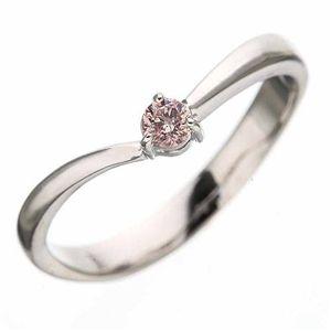 【訳あり・在庫処分】天然ピンクダイヤリング 指輪 0.07ct一粒リング11号