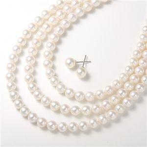 あこや真珠 パールネックレス&パールピアス4点セット 【本真珠】 - 拡大画像