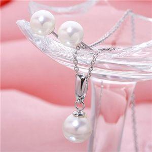 あこや真珠 パールペンダント&パールピアス セット 【本真珠】 - 拡大画像