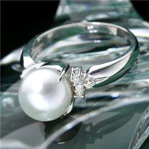 あこや真珠 8mmアップ パールダイヤリング 指輪 #11 - 拡大画像