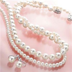 あこや真珠 8.5〜9mm珠 パールネックレス&パールイヤリング セット(鑑別カード付き) - 拡大画像