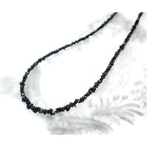 ブラックダイヤ15ctラフクリスタル ラウンドネックレス - 拡大画像