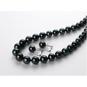 黒蝶真珠オーロラピーコック8-10mmネックレス&イヤリングセット - 拡大画像