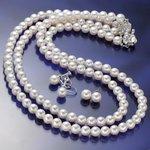 あこや真珠 6.5mm-7mm 3点セット イヤリングセット(パールネックレス42cm1本 パールネックレス47cm1本 パールイヤリング1ペア 計3点) 【本真珠】