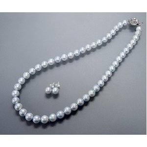 トリートブルーグレーあこや真珠8-8.5mmネックレス&ピアスセット - 拡大画像