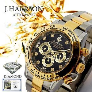 J.HARRISON 8石天然ダイヤモンド付自動巻きウォッチ ゴールド