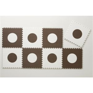ジョイントマット ドット 24枚組 ブラウン&ホワイト - 拡大画像