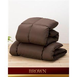 ホワイトダッグダウン85%使用羽毛掛け布団 寝具2点セット ブラウン - 拡大画像