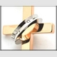 ステンレス製リング×クロスネックレス ダイヤ付 ブラック - 縮小画像3
