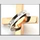 ステンレス製リング×クロスネックレス ダイヤ付  ピンクゴールド - 縮小画像3