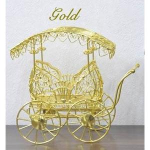アンティーク風ミニチュア馬車型ディスプレイ ゴールド ゴシックデザイン - 拡大画像